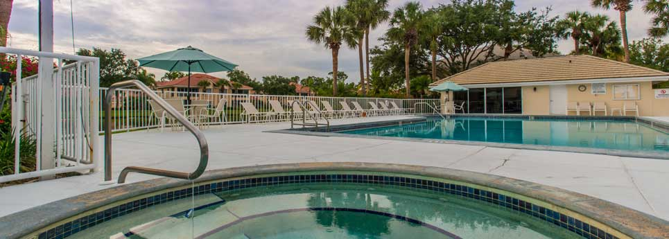 Hot tub and pool area at Bellerive community | Vineyards Community Association - Naples, Florida