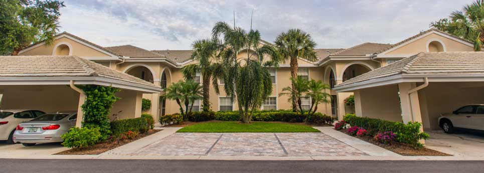 Homes with parking spots out front at Bellerive community | Vineyards Community Association - Naples, Florida