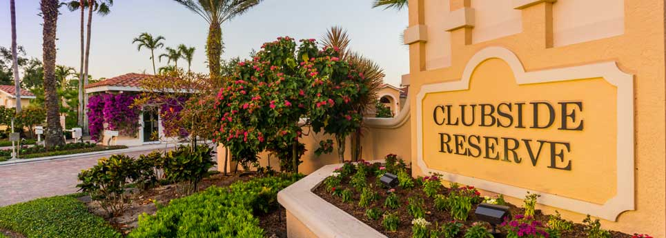 Entrance sign at Clubhouse Reserve community | Vineyards Community Association - Naples, Florida